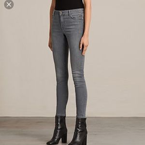 All Saints Mast skinny jeans in washed grey